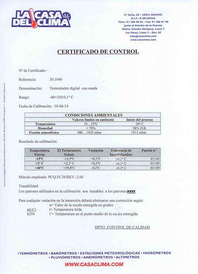 Certificado calibración temperatura 3 puntos