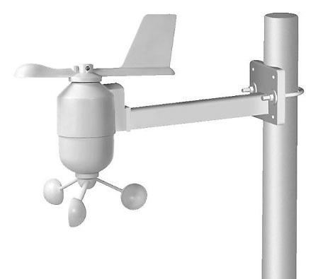 Sujección del sensor de viento al mástil (no incluido).
