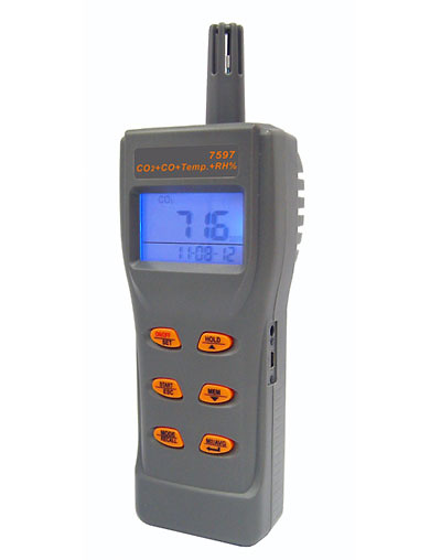 Medidor de CO2, CO, temperatura y humedad 7597IAQ