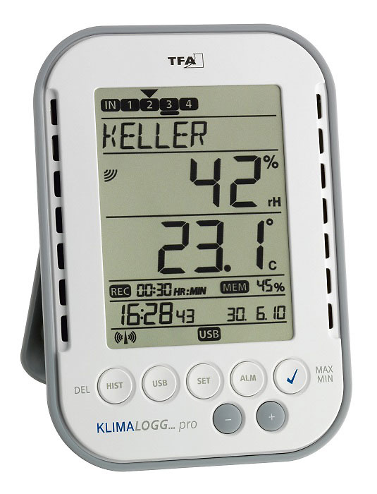 Registrador data logger de temperatura y humedad TFA 30.3039 KlimaLogg Pro