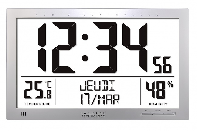 Reloj termohigrómetro gran formato La Crosse WS8013 gris