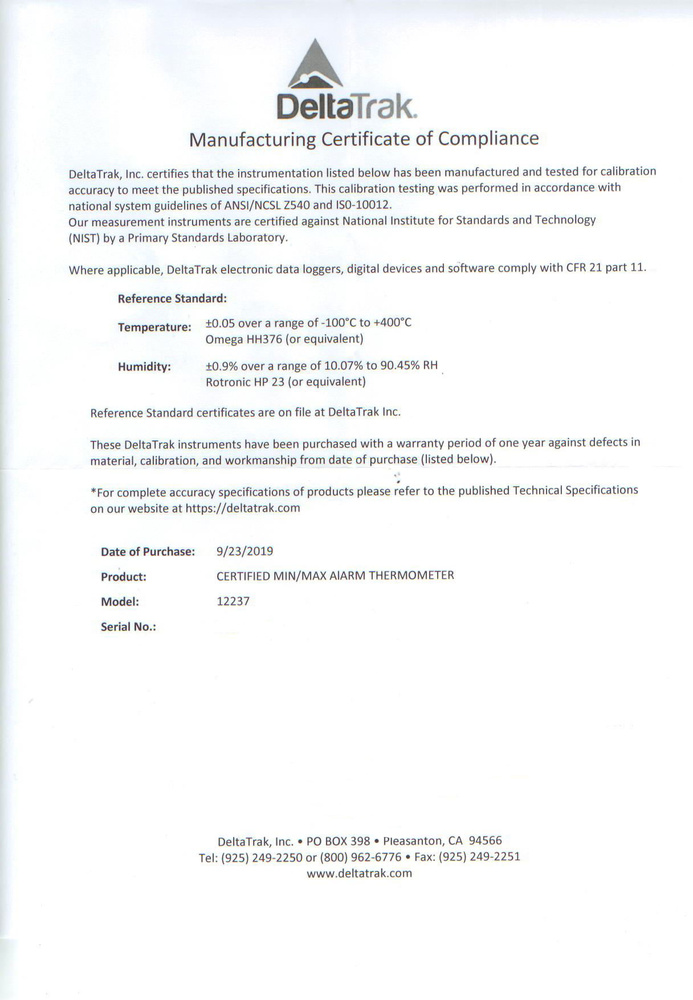 Termómetro digital DeltaTRACK TR12237