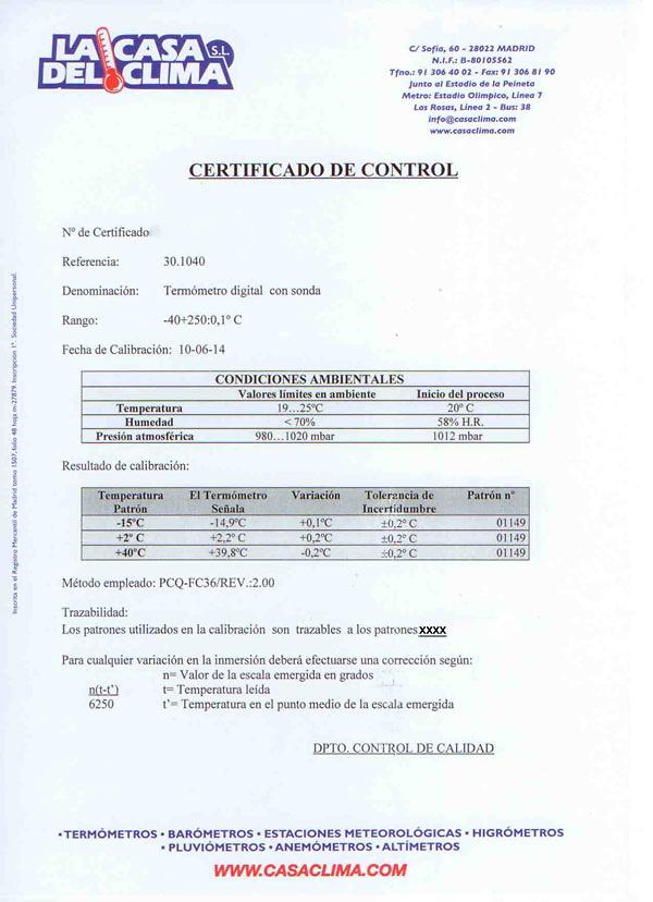 Termómetro digital TFA 30.1040 certificado