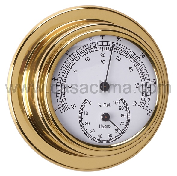 Termohigrómetro dorado 95/70